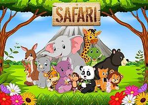 Painel de Festa em Tecido Sublimado 3d Safari