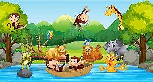 Painel de Festa em Tecido Sublimado 3d Safari Animais Selvagens