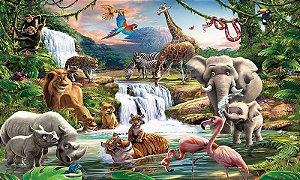 Painel de Festa em Tecido Sublimado 3d Safari Cascata