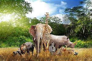 Painel de Festa em Tecido Sublimado 3d Safari da Africa