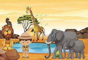 Painel de Festa em Tecido Sublimado 3d Animais do Safari