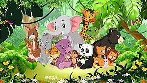 Painel de Festa em Tecido Sublimado 3d Safari na Selva