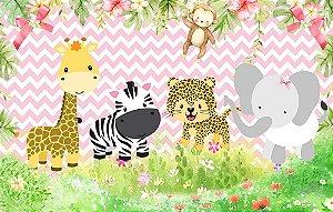 Painel de Festa em Tecido Sublimado 3d Safari Cute Rosa