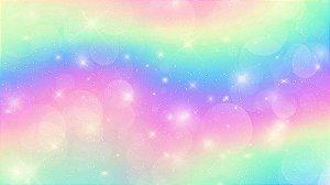 Painel de Festa em Tecido Sublimado 3d Arco-íris de Unicórnio