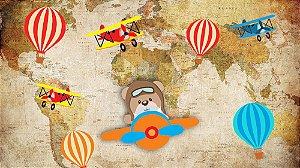 Painel de Festa em Tecido Sublimado 3d Ursinho Aviador Balões