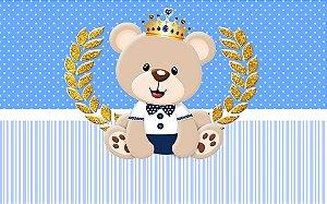 Painel de Festa em Tecido Sublimado 3d Ursinho Príncipe Mod2