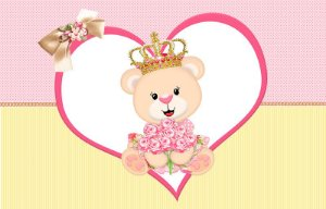 Painel de Festa em Tecido Sublimado 3d Coração Ursinha Princesa