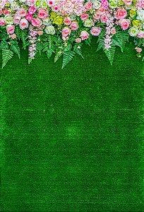 Fundo Fotográfico em Tecido Sublimado Cortina de Flores e Grama