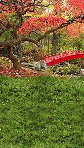 Fundo Fotográfico em Tecido Sublimado Floresta com Ponte