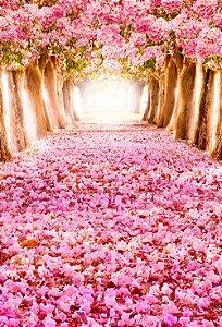 Fundo Fotográfico em Tecido Sublimado Floresta Rosa