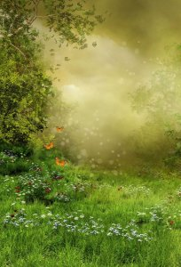 Fundo Fotográfico em Tecido Sublimado Florzinhas no Jardim