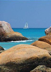 Fundo Fotográfico em Tecido Sublimado Veleiro no Mar