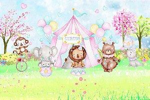 Painel de Festa em Tecido Sublimado 3d Lindo Circo Aquarela Animais