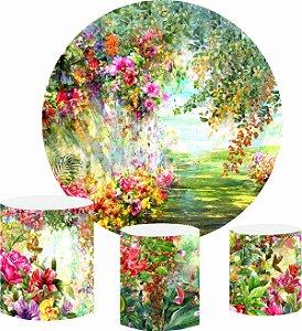 Kit Painel Redondo De Festa e Capas de Cilindro em tecido sublimado Lindo Jardim Aquarela
