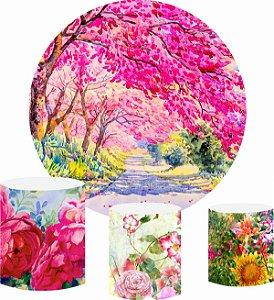 Kit Painel Redondo De Festa e Capas de Cilindro em tecido sublimado Jardim Aquarela