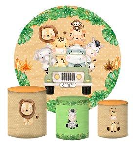 Kit Painel Redondo De Festa e Capas de Cilindro em tecido sublimado Jeep do Safari