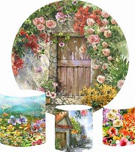 Kit Painel Redondo De Festa e Capas de Cilindro em tecido sublimado Casa do Jardim Aquarela