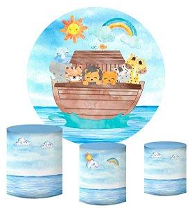 Kit Painel Redondo De Festa e Capas de Cilindro em tecido sublimado Arca de Noé Aquarela