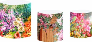 Kit Capas de Cilindro de festa em tecido sublimado Lindo Jardim Aquarela