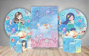 Super Kit Painéis Redondos De Festa e Capas de Cilindro em tecido sublimado Sereias Aquarelas