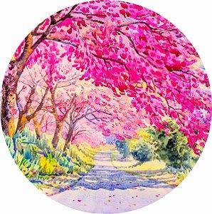 Painel de Festa Redondo em Tecido Sublimado Jardim Árvores Rosas c/elástico