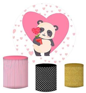 Kit Painel Redondo De Festa e Capas de Cilindro em tecido sublimado Panda Coração