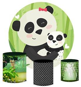 Kit Painel Redondo De Festa e Capas de Cilindro em tecido sublimado Panda Bambu