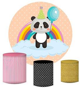Kit Painel Redondo De Festa e Capas de Cilindro em tecido sublimado Panda Arco-íris
