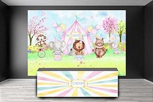 Painel de Festa e Frente de Mesa em tecido sublimado Circo Aquarela