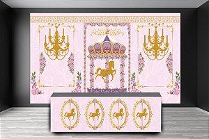 Painel de Festa e Frente de Mesa em tecido sublimado Carrossel