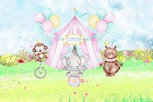 Painel de Festa em Tecido Sublimado 3d Lindo Circo Aquarela Animais Mod2