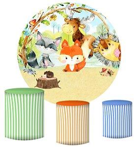 Kit Painel Redondo De Festa e Capas de Cilindro em tecido sublimado Bosque Aquarela Animais