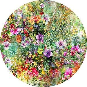 Painel de Festa Redondo em Tecido Sublimado Lindas Flores Aquarela c/elástico