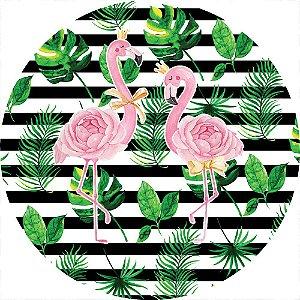 Painel de Festa Redondo em Tecido Sublimado Flamingos Aquarela c/elástico