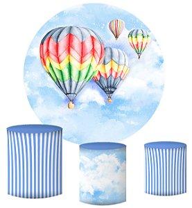 Kit Painel Redondo De Festa e Capas de Cilindro em tecido sublimado Balões Coloridos Aquarela