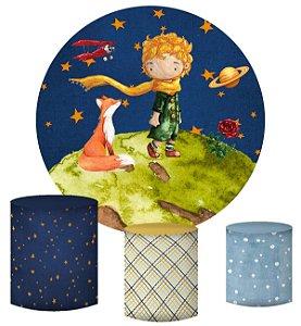 Kit Painel Redondo De Festa e Capas de Cilindro em tecido sublimado Pequeno Príncipe e Raposa