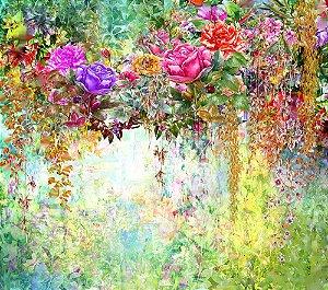 Painel de Festa em Tecido Sublimado 3d Flores Jardim Aquarela