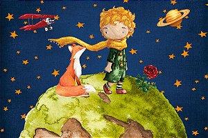 Painel de Festa em Tecido Sublimado 3d Planeta Pequeno Príncipe