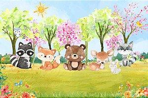 Painel de Festa em Tecido Sublimado 3d Bosque Animais Primavera