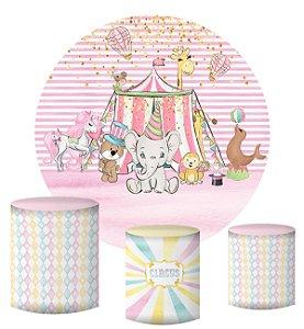 Kit Painel Redondo De Festa e Capas de Cilindro em tecido sublimado Circo Animais Fundo Rosa