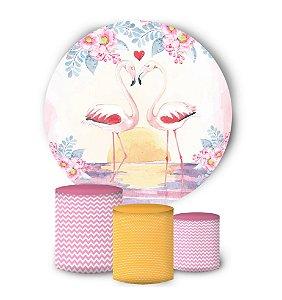 Kit Painel Redondo De Festa e Capas de Cilindro em tecido sublimado Flamingo Pôr do Sol