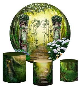 Kit Painel Redondo De Festa e Capas de Cilindro em tecido sublimado Portal da Floresta