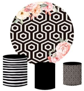 Kit Painel Redondo De Festa e Capas de Cilindro em tecido sublimado Rosas no Fundo Geométrico
