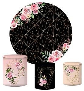 Kit Painel Redondo De Festa e Capas de Cilindro em tecido sublimado Fundo Geométrico Flores Rosas