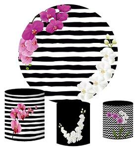 Kit Painel Redondo De Festa e Capas de Cilindro em tecido sublimado Orquídeas