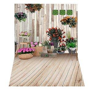 Fundo Fotográfico em Tecido Sublimado Cenário Com Flores