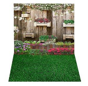 DUPLICADO - Fundo Fotográfico em Tecido Sublimado Cenário Com Flores