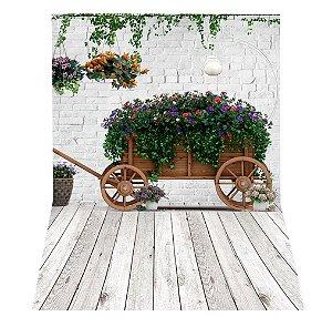 Fundo Fotográfico em Tecido Sublimado Carroça com Flores