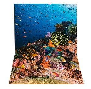 Fundo Fotográfico em Tecido Sublimado Corais e Peixes