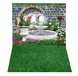 Fundo Fotográfico em Tecido Sublimado Fonte no Jardim